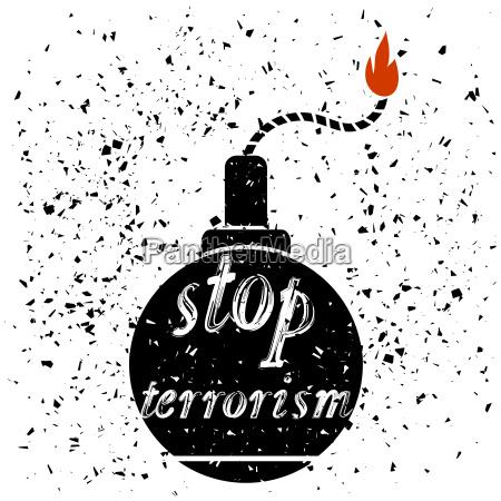 bomb icon stop terrorism banner