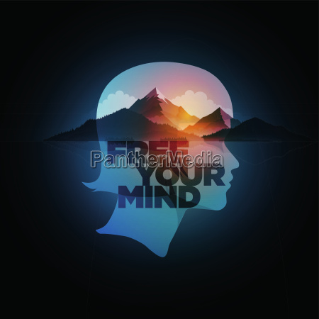 free your mind vector concept illustration