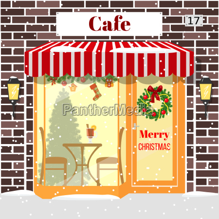 christmas decorated cafe or coffee shop