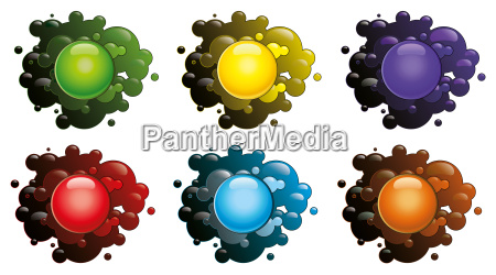 colored blots isolated on a white