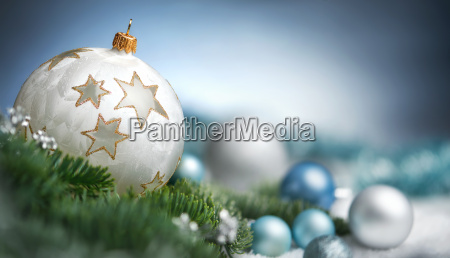 christmas balls arrangement in closeup with