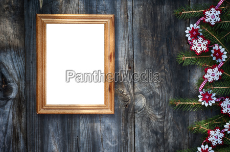 empty wooden frame on the gray