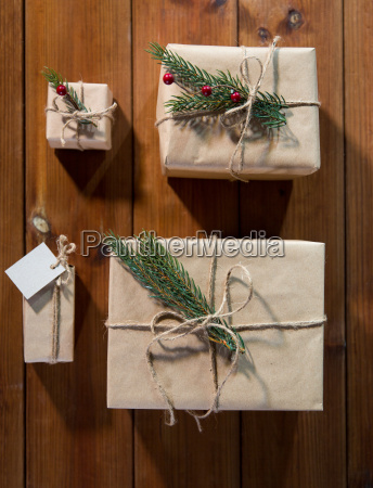 close up of christmas gifts with