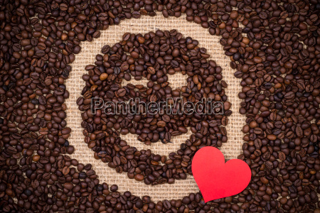 coffee beans with red heart and