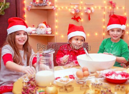 children making christmas dinner