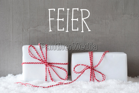 two gifts with snow feier means