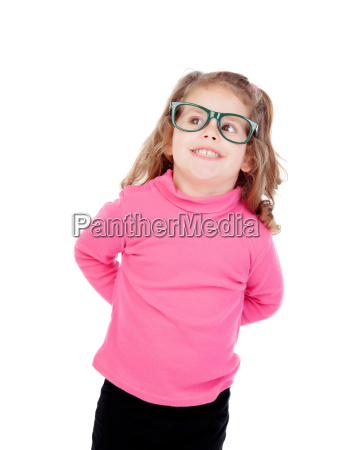 little girl in pink with glasses