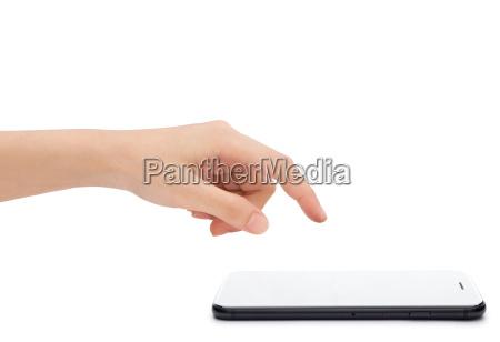 close up hand touching on smart