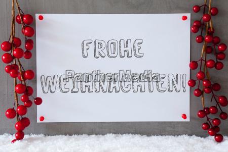 label snow decoration frohe weihnachten means