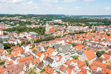 aerial view over the city of