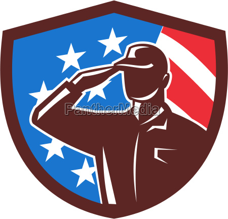 american soldier saluting usa flag crest