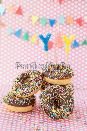 colorful doughnuts with sprinkles