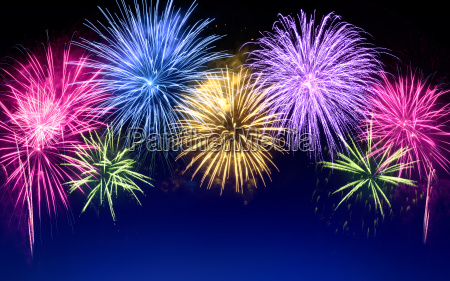 colorful fireworks with copy space on