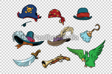 pirate set of knives and hats