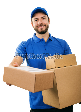 delivery service courier giving cardboard shipping