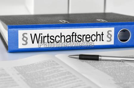 file folder with the inscription wirtschaftsrecht
