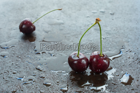 red cherries with stem and water