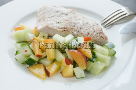 low carb meal of turkey escalope