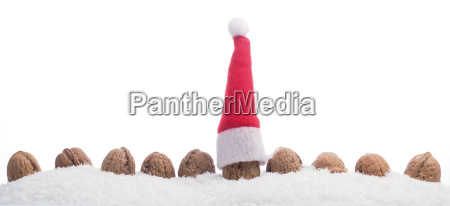 christmas background with walnuts in snow