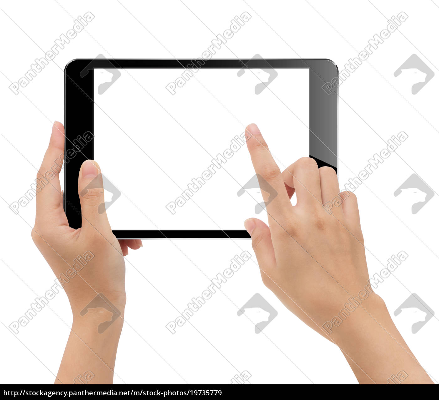 close-up, hand, holding, tablet, isolated, white - 19735779