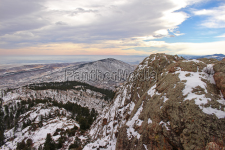 snow covered foothills seen from atop