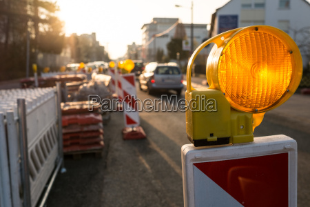 yellow warning light in a construction