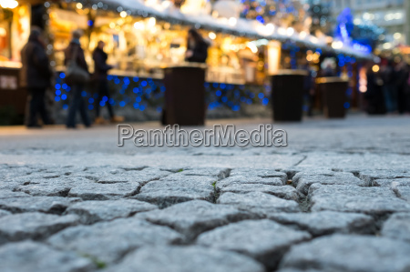 cobblestone at the christmas market with