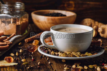 masala chai in white cup with