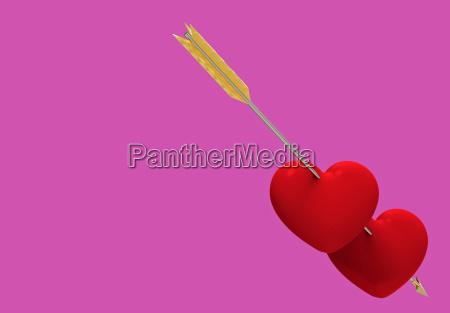 two hearts pierced by an arrow