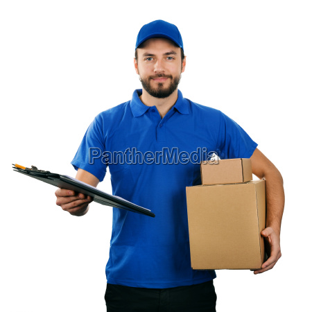 deliveryman with boxes and clipboard isolated
