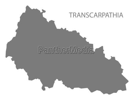 transcarpathia ukraine map grey