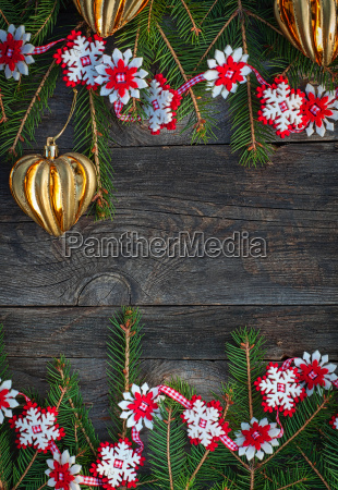 christmas gray wooden background with toys