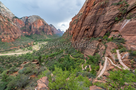 zion canyon and hiking trail