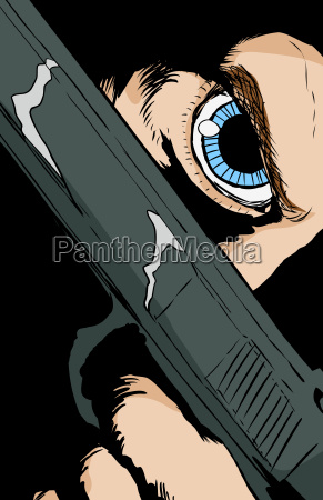 blue eyed person holding pistol close