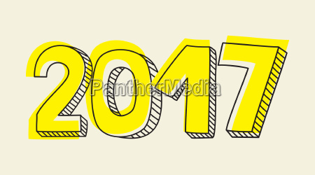 new year 2017 yellow vector sign