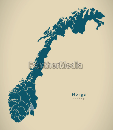 modern map norway with counties