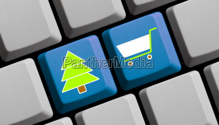 computer keyboard christmas and shopping