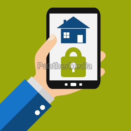 house secured with smartphone