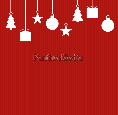 white christmas decoration on red stripes