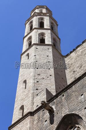 tower of catalan gothic church santa