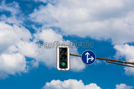 traffic light and road sign