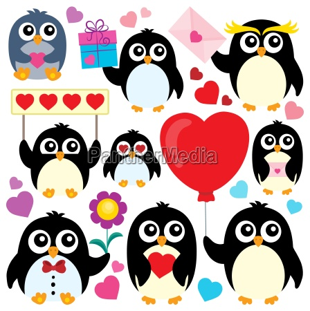 valentine penguins theme collection 1