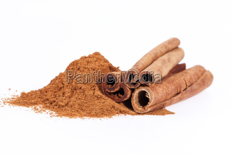 cinnamon, sticks, and, powder, isolated, on - 19802111