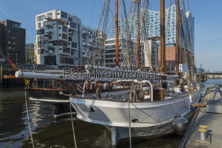 sailboat in hafencity hamburg elbe philharmonic