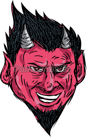 demon horns goatee head drawing
