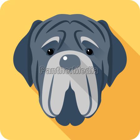 dog neapolitan mastiff icon head flat