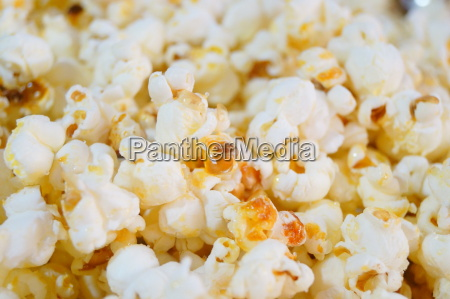 a close up of popcorn with