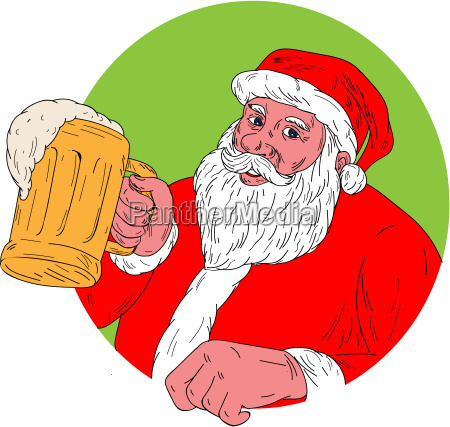 santa claus drinking beer drawing