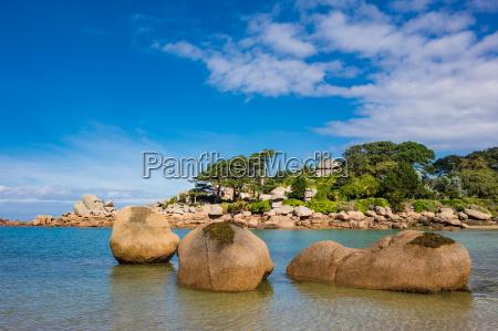 pink granite coast in brittany in