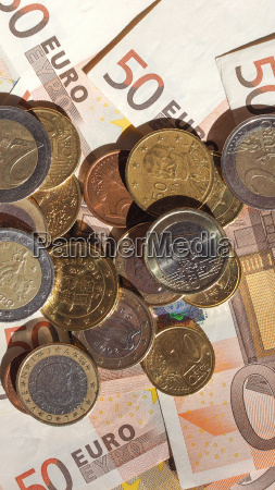 euro coins and notes vertical
